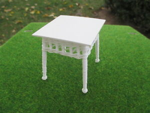 Vtg '86 Handmade Square White Wicker Table Signed A.T. Roz Dollhouse Miniatures