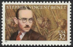 Scott-3221-Stephen-Vincent-Benet-Writer-MNH-32c-1998-unused-mint-stamp