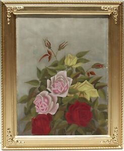 Antique-19c-Original-Oil-Painting-on-canvas-Still-Life-Roses-unsigned-framed