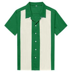 Hombres-Camisa-Occidental-Mangas-Cortas-Algodon-Rockabilly-Bolos-Camisas-Casuales