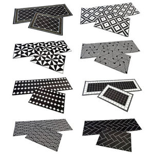 2pcs/set Kitchen Geometric Pattern Floor Mat Area Rugs Carpets Doormat Black New