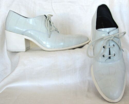 CELINE Pale Blue Oxford Brogue Block Heel Shoes Si