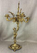 Antique French 19th c gilt ormolu  figural candelabra Candlestick Cherub Putti