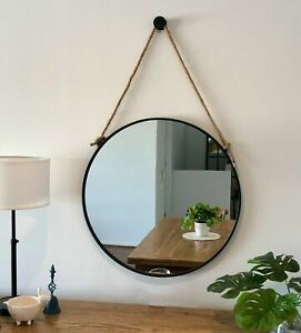 Round Black Framed Mirror With Hanging Hemp Rope Button Hook 60cm Or 80cm Diam Ebay