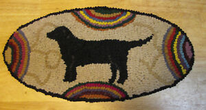 Black Labrador Dog Oval Primitive Rug