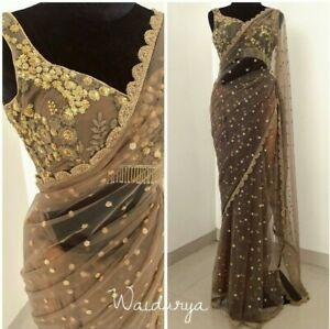 INDIAN-BOLLYWOOD-NYLONE-NET-THREAD-SARI-WORK-PARTY-WEAR-FANCY-ETHNIC-SAREE