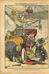 Caricature-Progres-Accident-Automobile-Avion-Transport-Pietons-1911-ILLUSTRATION