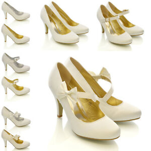 Womens-Bridal-Shoes-Wedding-Classic-Heel-Pumps-Ladies-Satin-Bow-Party-Courts-3-9