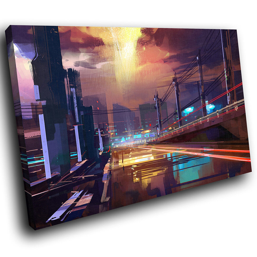 AB756 braun lila City Modern Abstract Canvas Wall Art Large Picture Prints