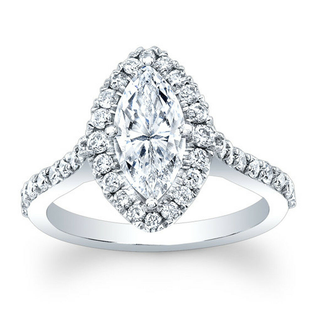 14K White gold 2.20 Ct Marquise Solitaire Diamond Engagement Ring Size 5 6 0201