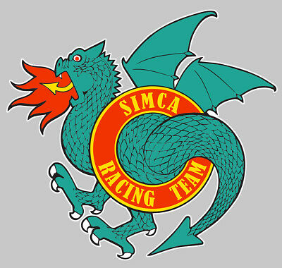 Sticker Simca Team Rallye Racing Dragon Crache Feu Srt 12cm Autocollant Sa201 Good Heat Preservation Automobilia Badges, Insignes, Mascottes