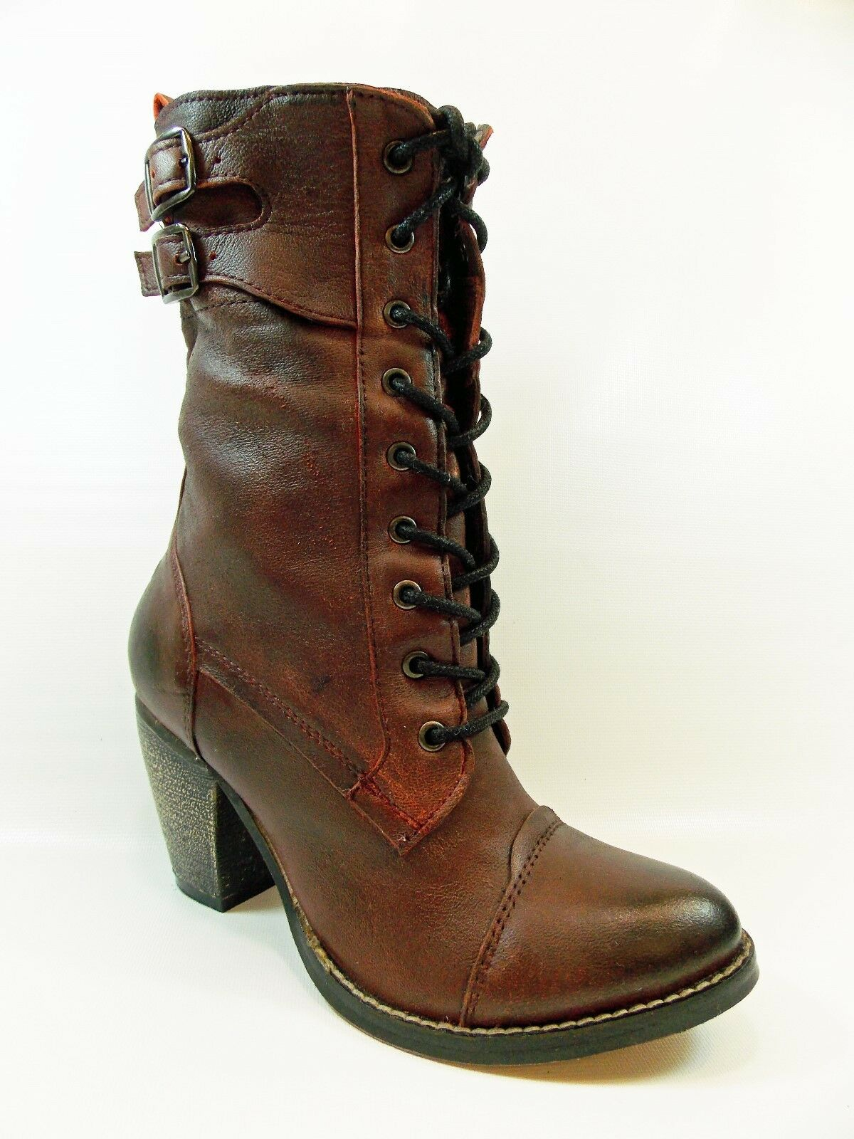 MIA NANETTE BURGUNDY ANTIQUE LEATHER ANKLE BOOT LACE & ZIP Damenschuhe 5 MSRP 139.95