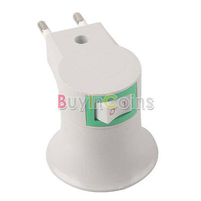 E27 LED Light Male socket to EU Plug Adapter Converter W/ ON OFF for Halogen Eas