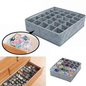 Gray-Cloth-Drawer-Organiser-30-Compartments-Lingerie-Underwear-Bra-Storage-Box