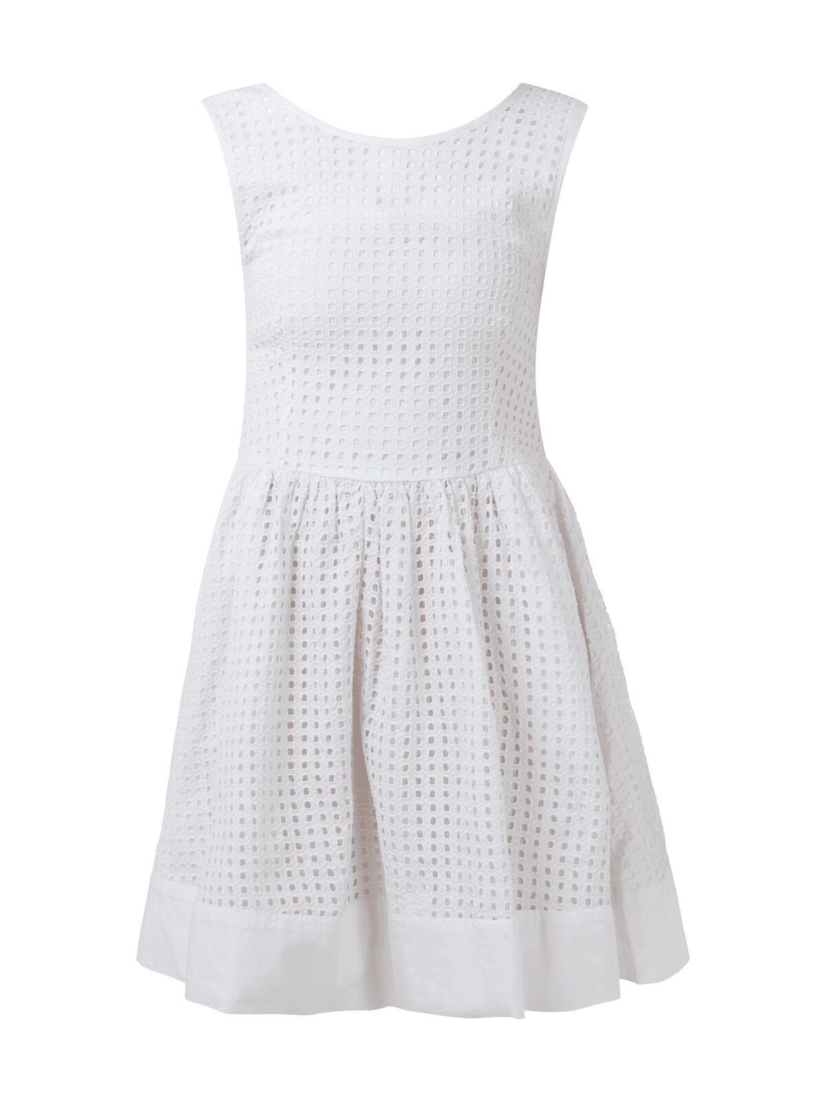 Hilfiger Denim Kleid mit Lochmuster Damen Kleid Weiss NEU Größe S XS