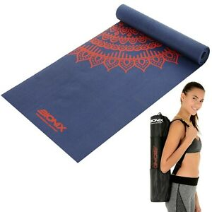 Yoga-Mat-6mm-Printed-Non-Slip-Thick-And-Carry-Bag-Strap-Home-Pilates-Exercise