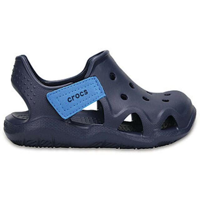 1f1bf9288 Crocs Kids Swiftwater Wave Slip-on Shoe Sandals Navy Blue Size 10 ...