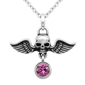 68e32a87b Image is loading Birthstone-Winged-Warrior-Skull-Necklace-With-Swarovski- Crystal-