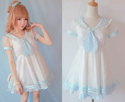 Cute Girls Princess Dolly Lolita Kawaii Party Sweet crew neck Dress + Tie Blue