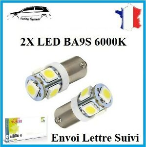2x Ampoule Ba9s T11 T4w 5 Led 5050 Smd 6000k Blanc Pure Veilleuse Lampe Tuning