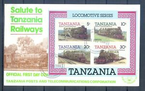 TANZANIA 1996  2  FDC  BLOCK TRAINS IMPERFORED OVERPRINT SILVER + GOLD   MNH