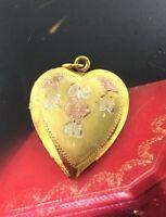 VINTAGE 12K GOLD PLATED STERLING SILVER HEART LOCKET