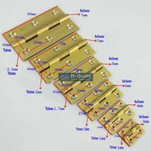 10PCS-Antique-Golden-Color-Wire-Drawing-Solid-Brass-Door-Hinge-with-Brass-Screws