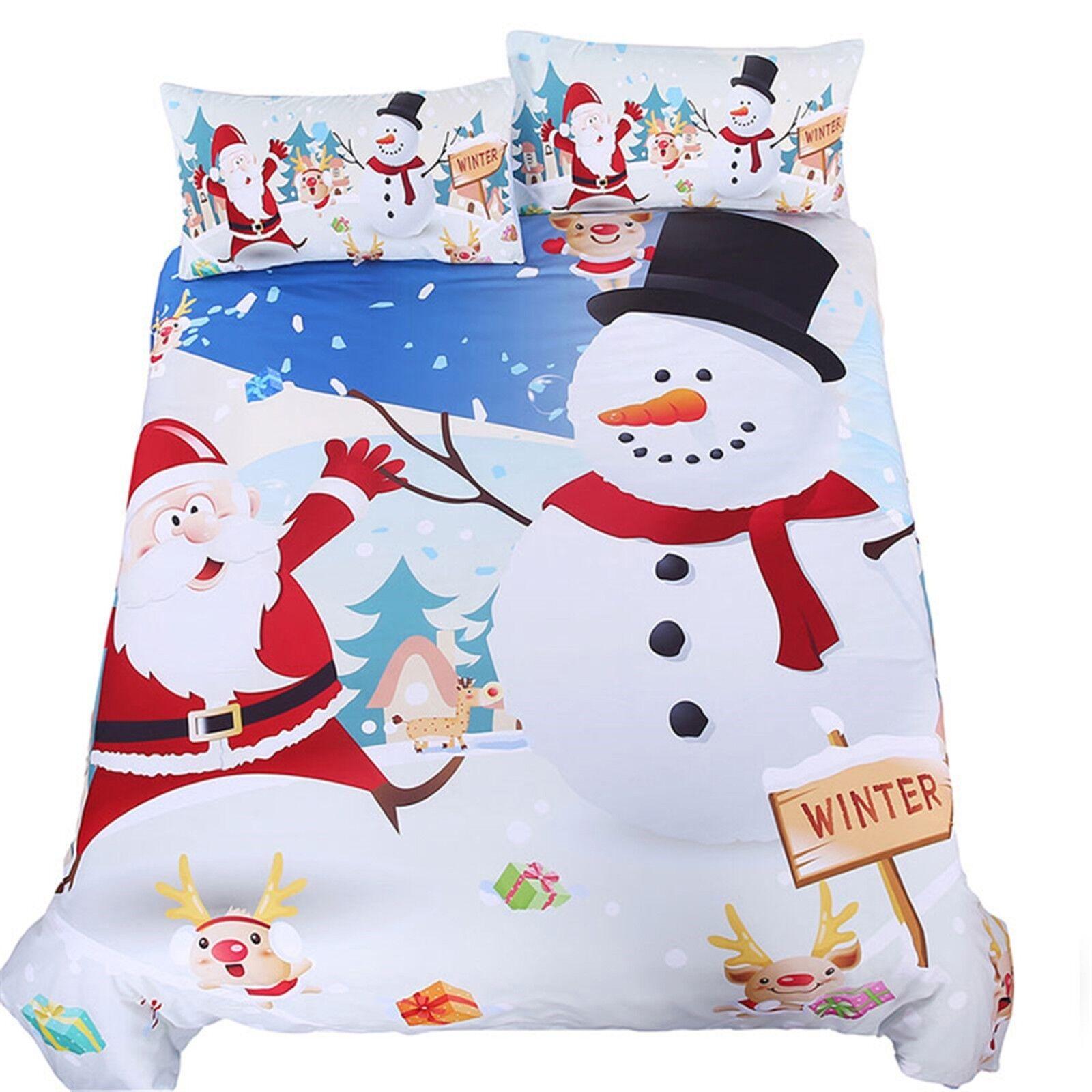 3D Snowman Christmas 41 Bed Pillowcases Quilt Duvet Cover Set Single Queen CA