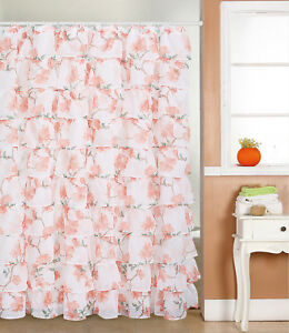 Image Is Loading Gypsy Ruffled Voile Sheer Shower Curtain 72 034