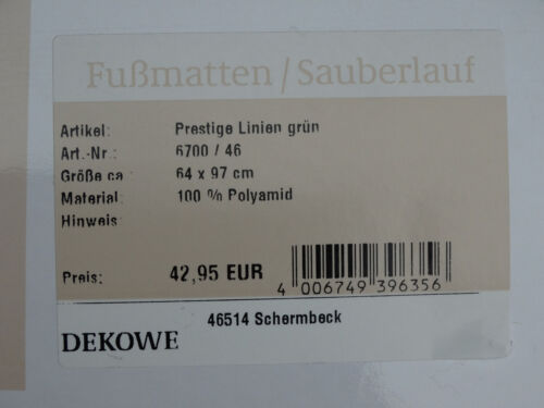 SCHMUTZFANGMATTE waschbar FUßMATTE Dekowe Prestige Linien Grün 64x97 Türmatte