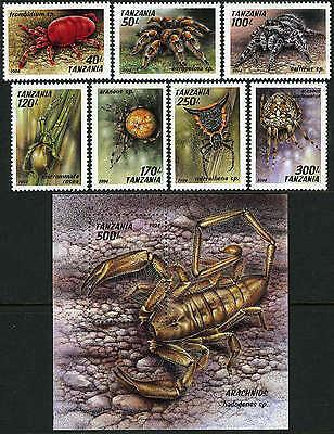 1994 Mnh Tanzania 1235-1241,1242 Spiders Arachnids Mi 1798-1805 Bl.255