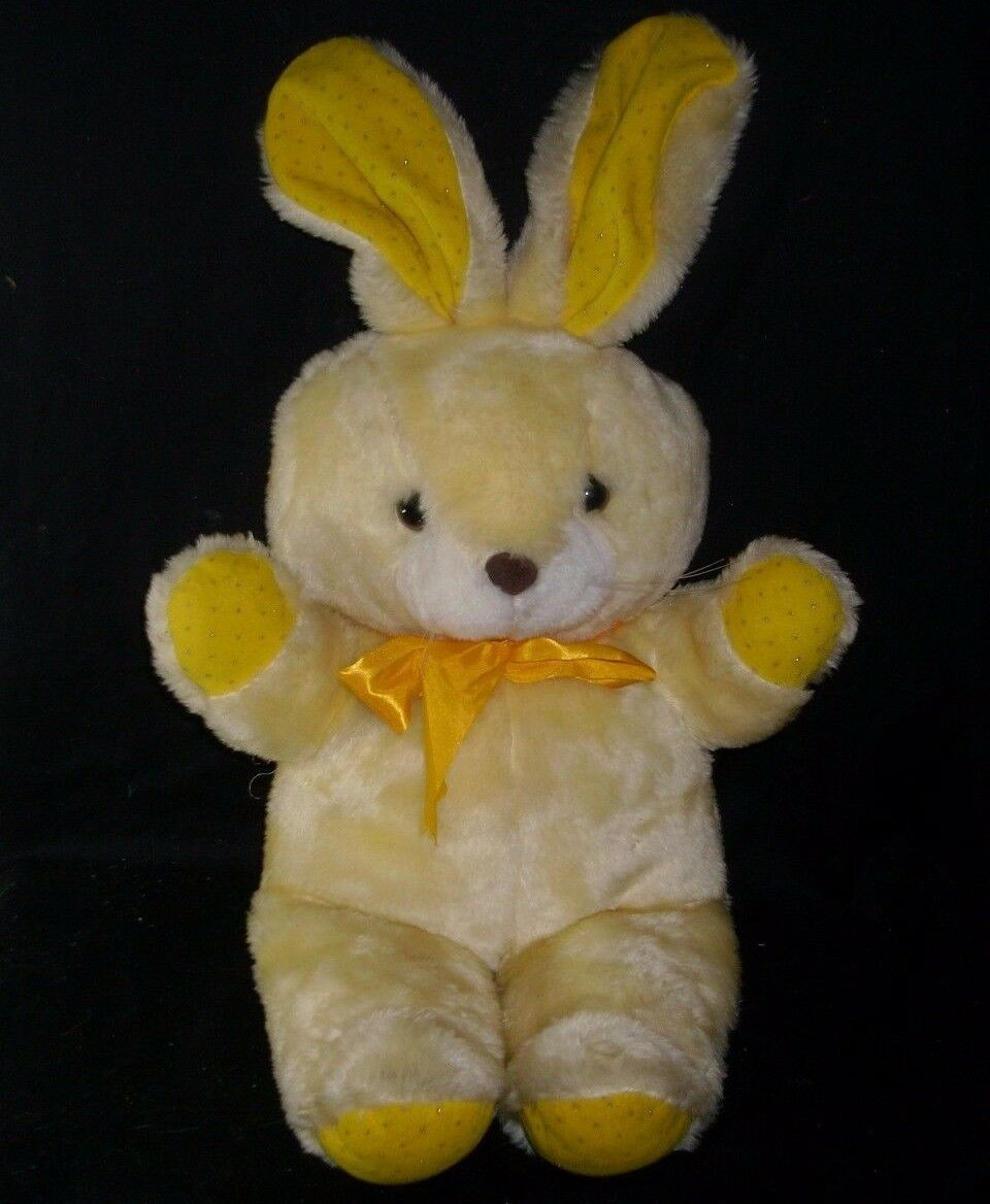 24  VINTAGE 1986 CUDDLE WIT YELLOW EASTER BUNNY RABBIT STUFFED ANIMAL PLUSH TOY