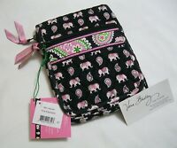 Vera Bradley Pink Elephants Mini Hipster Purse Wallet Crossbody Coin Cosmetic
