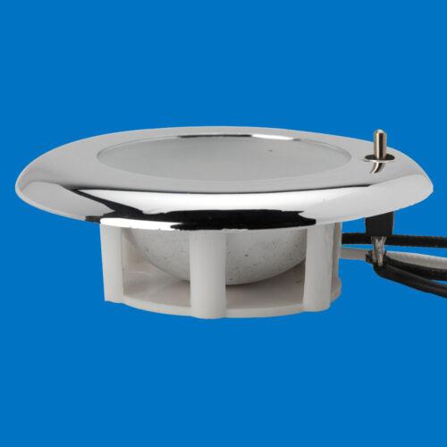 """LED Boat//Caravan Light 3/"""" Flush Mount Toggle Warm LEDs 12V Chrome Plastic"""
