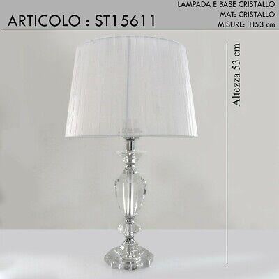 Lampada da tavolo abat jour con paralume cristallo moderno classico lume cromo H | eBay