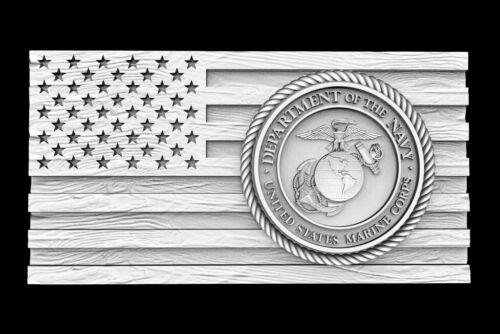 3D STL Model for CNC Router Artcam Flag USA America Marine Corps Eagle D668