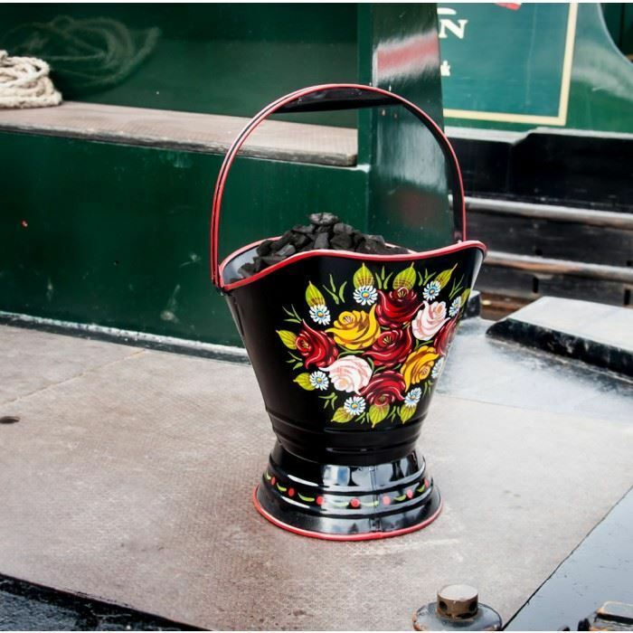 Narrowboat Hand Painted Coal Scuttle in Four Finishes