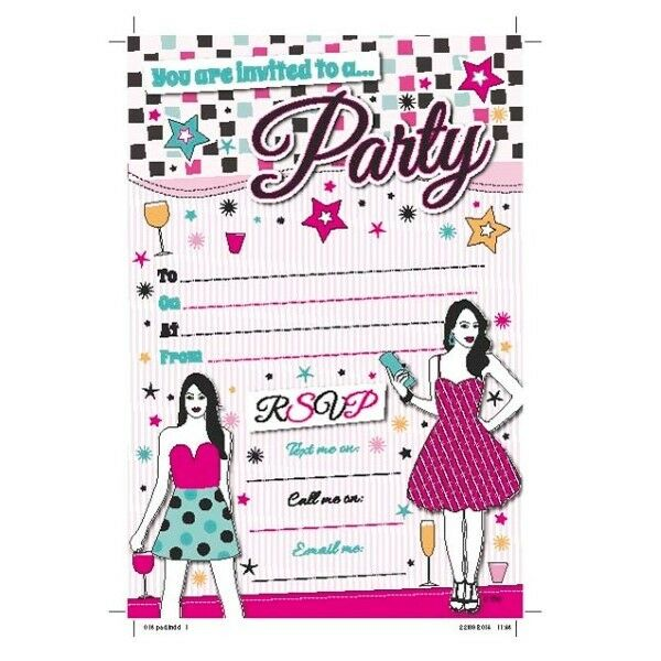 20 X Party Invitations Sheets Notes With Envelopes