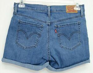 New-Levi-039-s-Womens-Mid-Length-Light-Blue-Cuffed-Denim-Stretch-Jean-Shorts-29