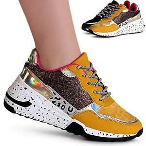 Da-Donna-Zeppa-Sneaker-mix-di-materiali-Plateau-Scarpe-da-ginnastica-Chunky-derby-GLITTER
