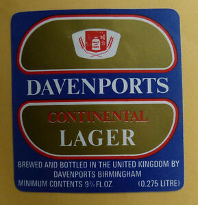 VINTAGE-BRITISH-BEER-LABEL-DAVENPORTS-CONTINETAL-LAGER-9-2-3-FL-OZ
