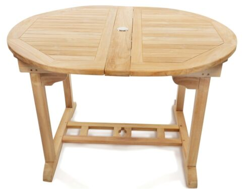 """Premium Grade A Teak 66""""x 39 Oval Extension Table w6 Reclining 5-Position Chairs 738283979941"""