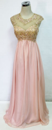 $190 NWT MASQUERADE Peach Formal Prom Evening Gown 5