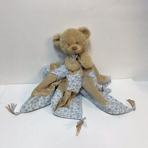 Baby-Gund-Cuddly-Pals-Bundle-Blankie-Lovey-Security-Teddy-Bear-Blue-White-Stars