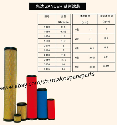 Fit Zander Replacement Filter Element 1070V 1070Z 1070Y 1070X 1070A 1070A