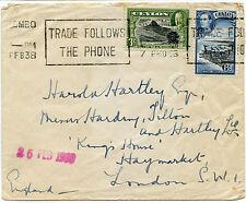 Ceylon 1938 MACCHINA TELEFONO slogan Annulla Kg5 + Kg6 franking combinazione