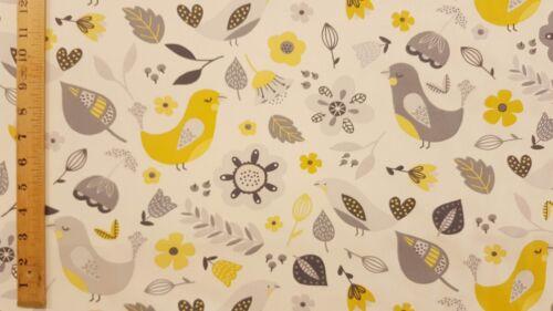 Fryetts Dalarna Ochre Birds Curtain Upholstery Craft Designer Cotton Fabric