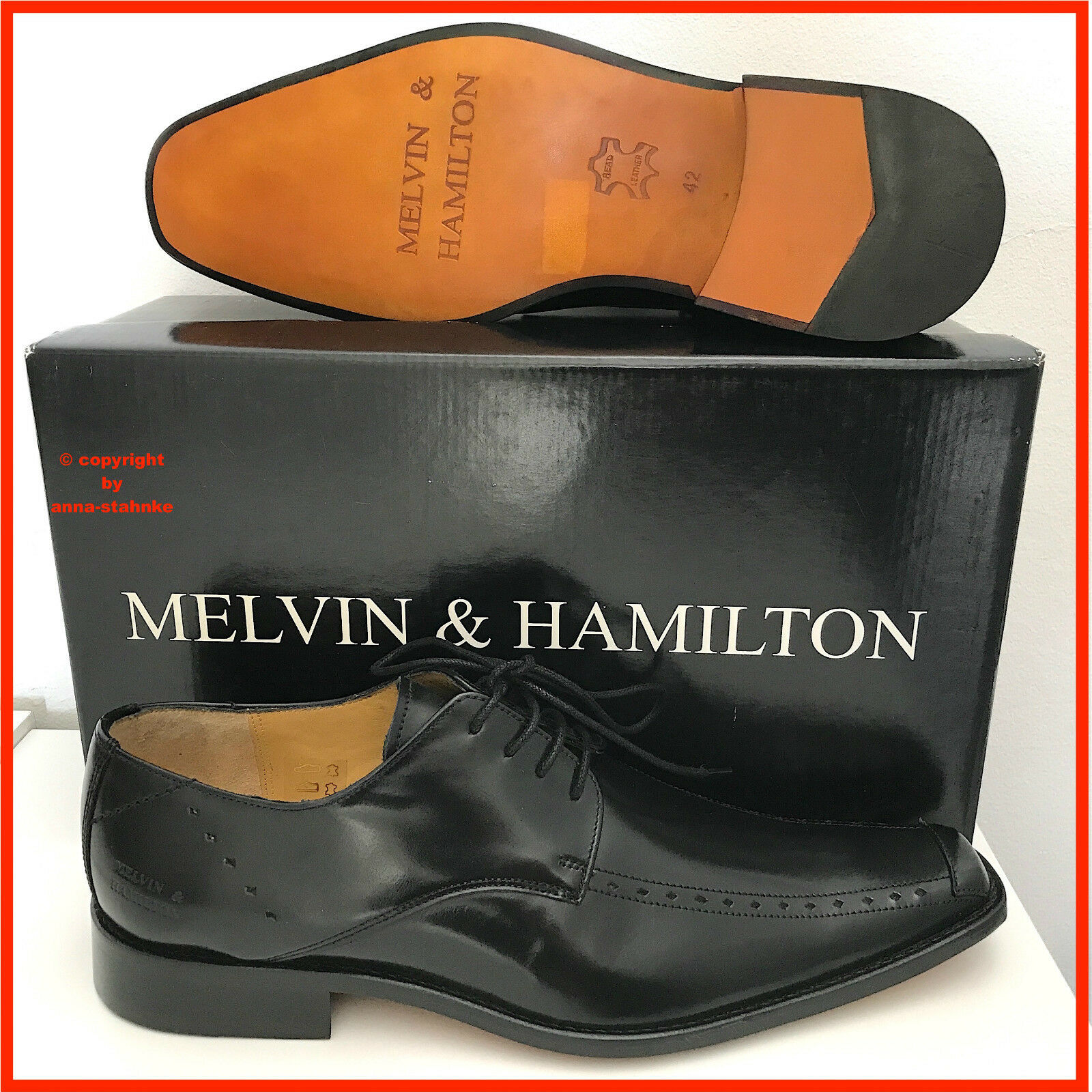 MELVIN & HAMILTON MEN HALBSCHUHE BUSINESS SCHNÜRSCHUHE SCHUHE schwarz RARE GR. 42    | Ausgezeichneter Wert