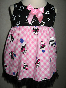 stars-Smock-dress-Baby-Black-White-Pink-cakes-Birthday-Party-Gift-Summer-Shower