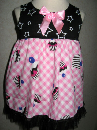 NEW Baby Girls Black White Pink Stars Cupcake Smock Top Dress Party Gift Casual